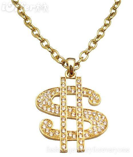 bling bling golden dollar sing pendent necklace bling it on