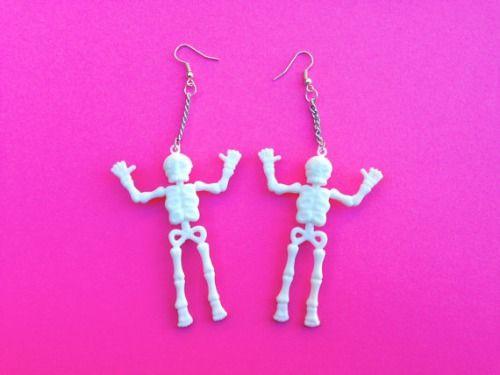 skeleton earrings, skull earrings, fashion, style, alternative, accessories