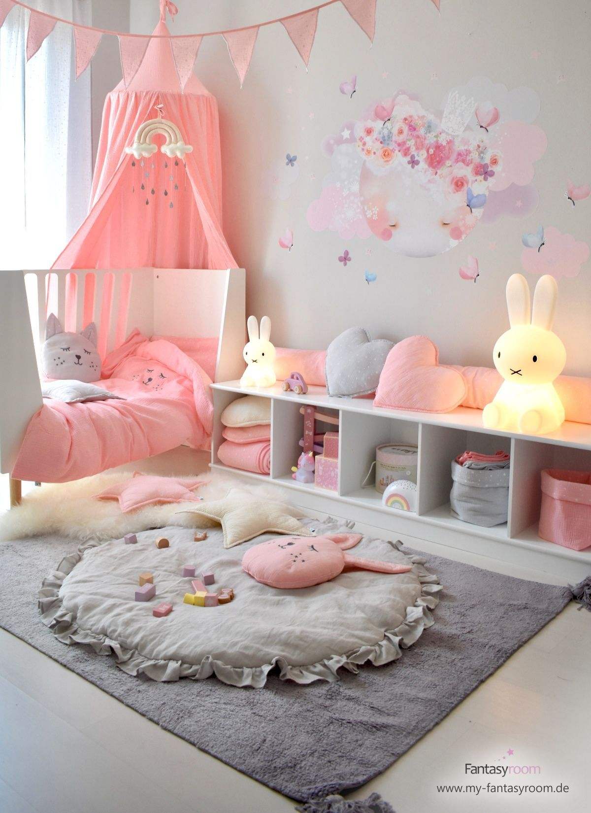 Romantic Pink Girl S Room With Moon Wall Decal Decal Girls Moon Pink Romantic Room Wall In 2021 Pink Girl Room Baby Room Decor Kids Room Design