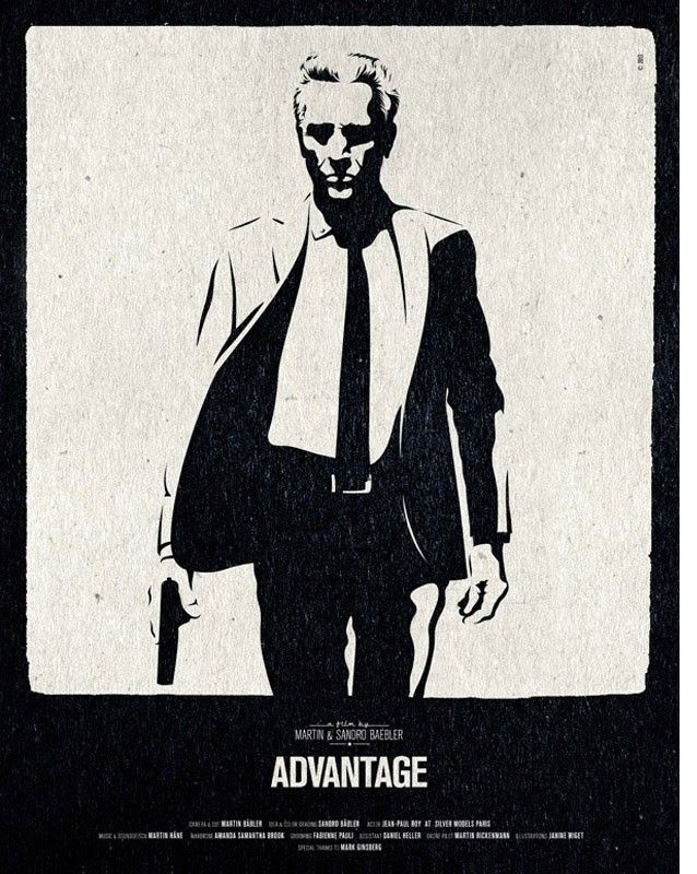 """schwarzweiss Vektorillustration """"men in suit"""", für Poster des Advatage-Movie von Fotograf Sandro Bäbler und Filmer Martin Bäbler"""