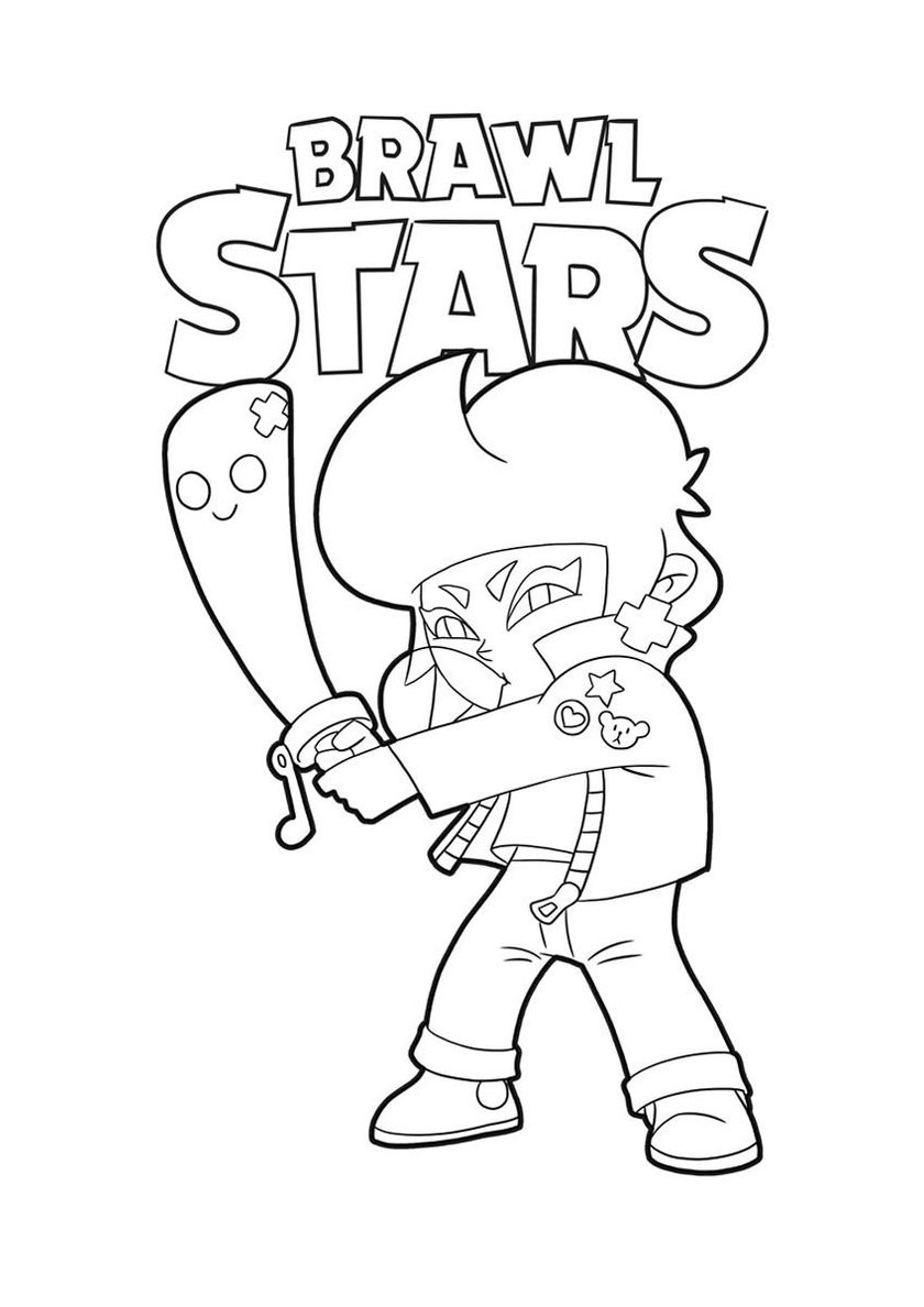 Bibi With A Baseball Bat High Quality Free Coloring Page From The Category Brawl Stars More Printable In 2020 Star Coloring Pages Coloring Pages Bat Coloring Pages