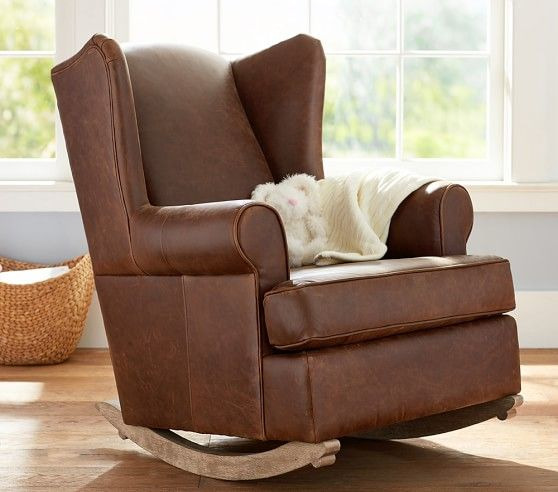 Leather Wingback Convertible Rocker Amp Ottoman Pottery