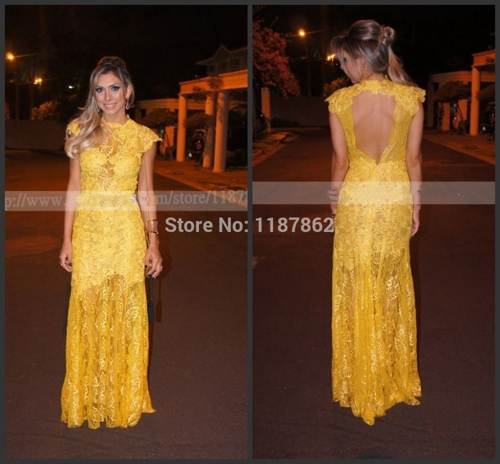 Find more evening dresses information about ed new yellow lace