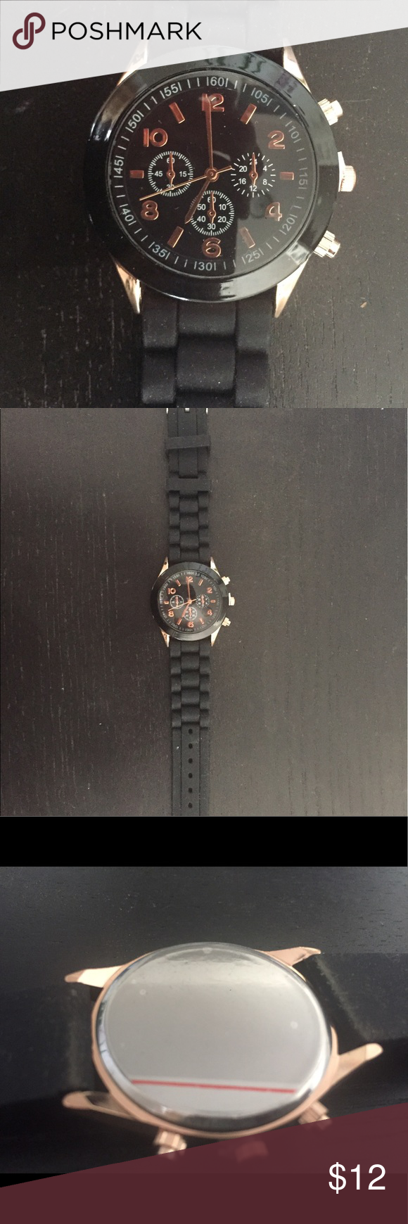 Black Watch Material: Rubber Band, Glass/Metal Face.                                    ⭐️❗️BUNDLE for special price ❗️⭐️ Accessories Watches