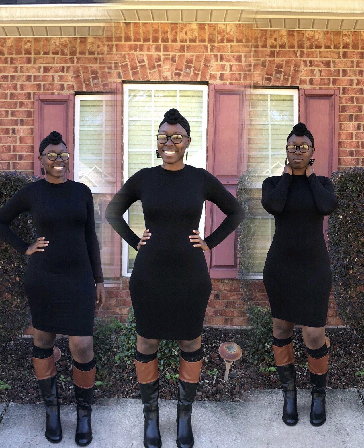 Black Dress W Boots And Turban Black Dress Fashion Sweater Dress [ 1573 x 1278 Pixel ]