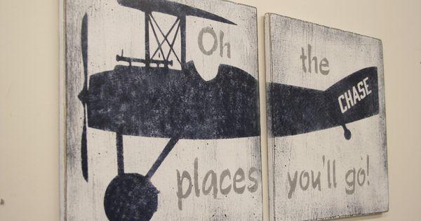 Vintage Airplane Nursery Decor Wood Sign Boys Nursery Oh The Places You'll Go Navy And Gray Nursery Baby Gift Distressed Wood Handmade   Pinterest   Boy nurser…