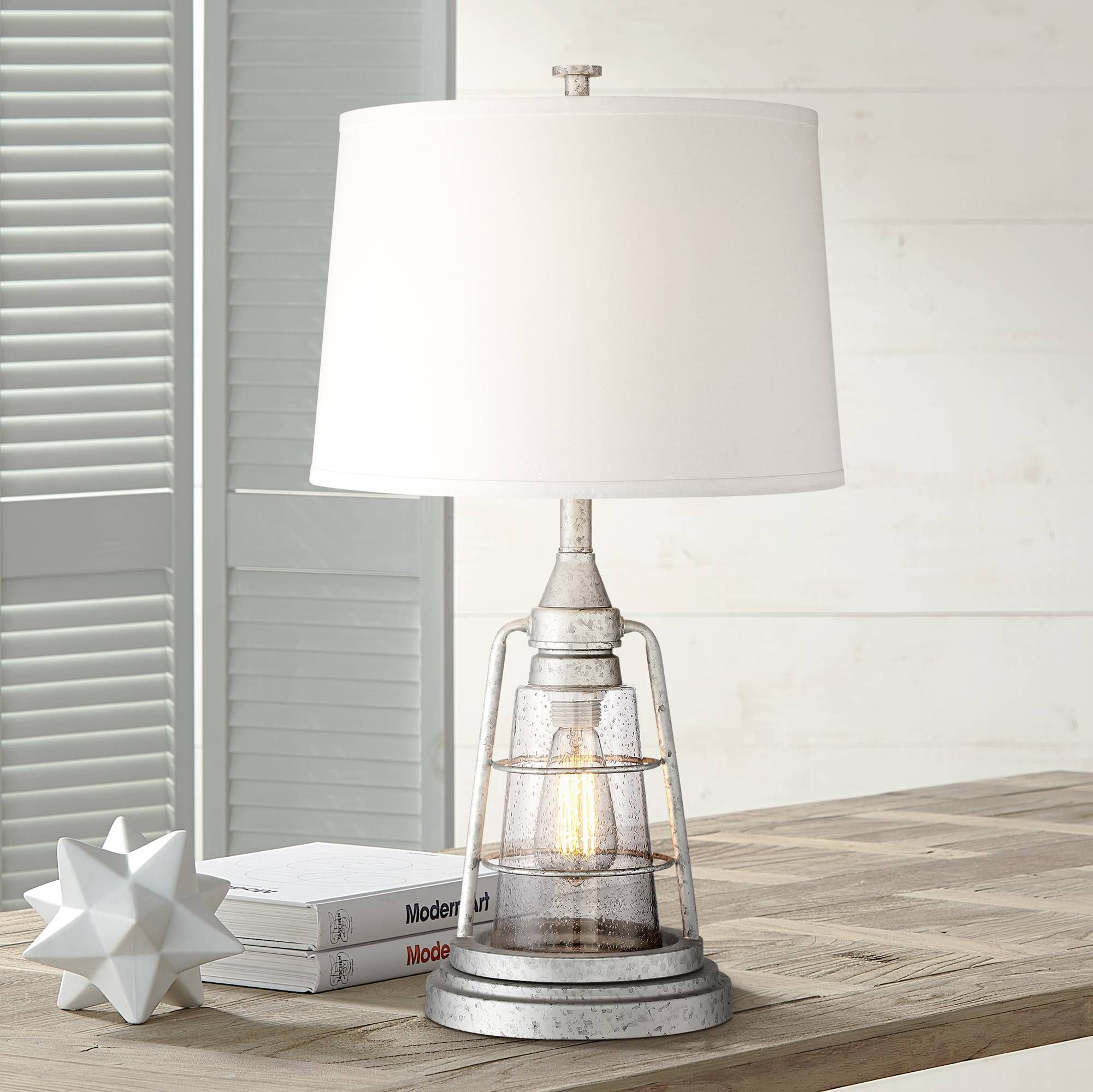 Fisher Galvanized Metal 28 3 4 High Nightlight Table Lamp 9h334 Lamps Plus Table Lamp Lamp Night Light