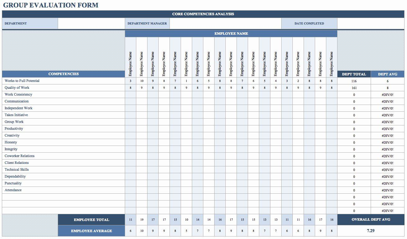 Employee Performance Evaluation form Excel Best Of Free