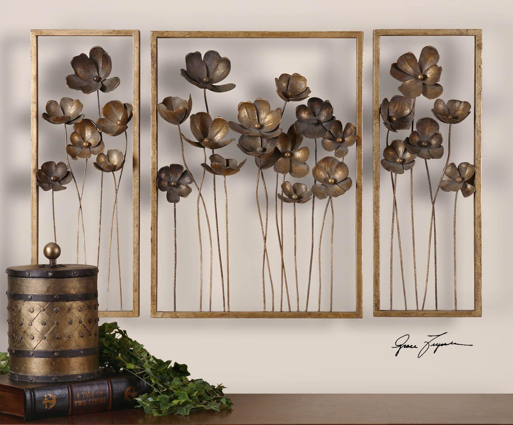 Metal Tulips Wall Art 3 Piece Set Wall Sculpture Art Tulip