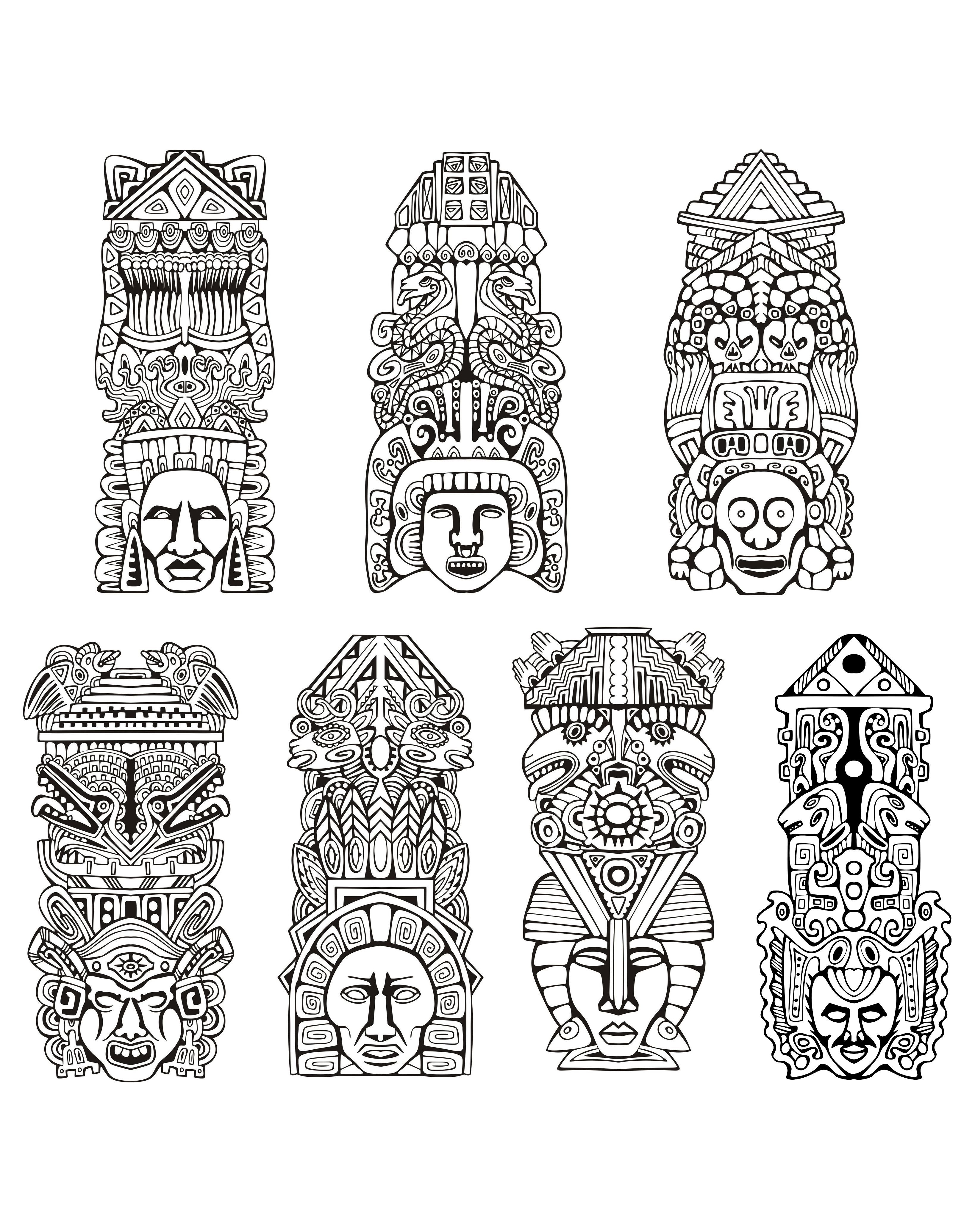 Free Coloring Page Adult Totems Inspiration Inca Mayan Aztec Inspired By Aztecs Mayans And Incas Source Rocich 123RF