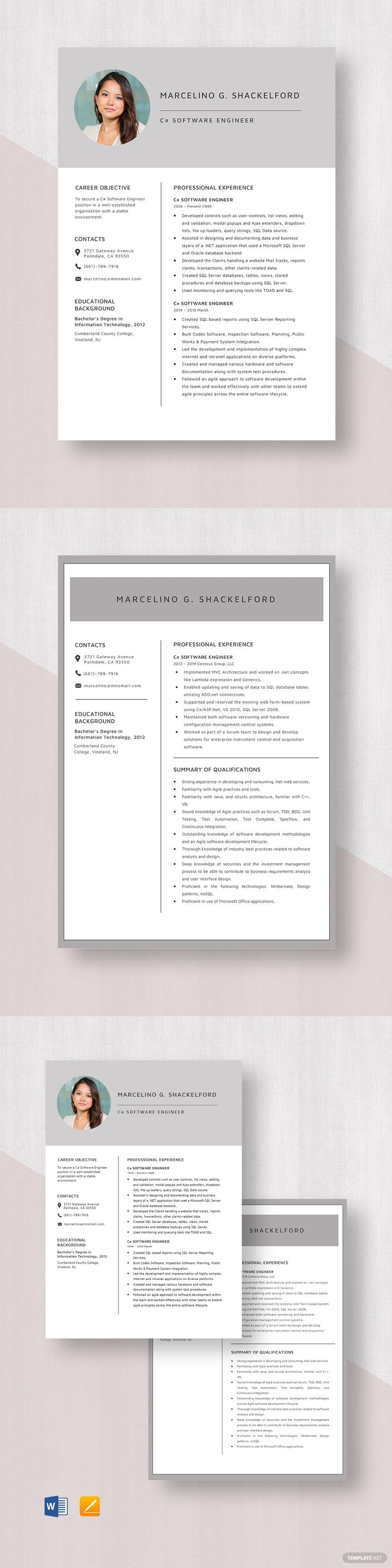 C software engineer resume template in 2020 software