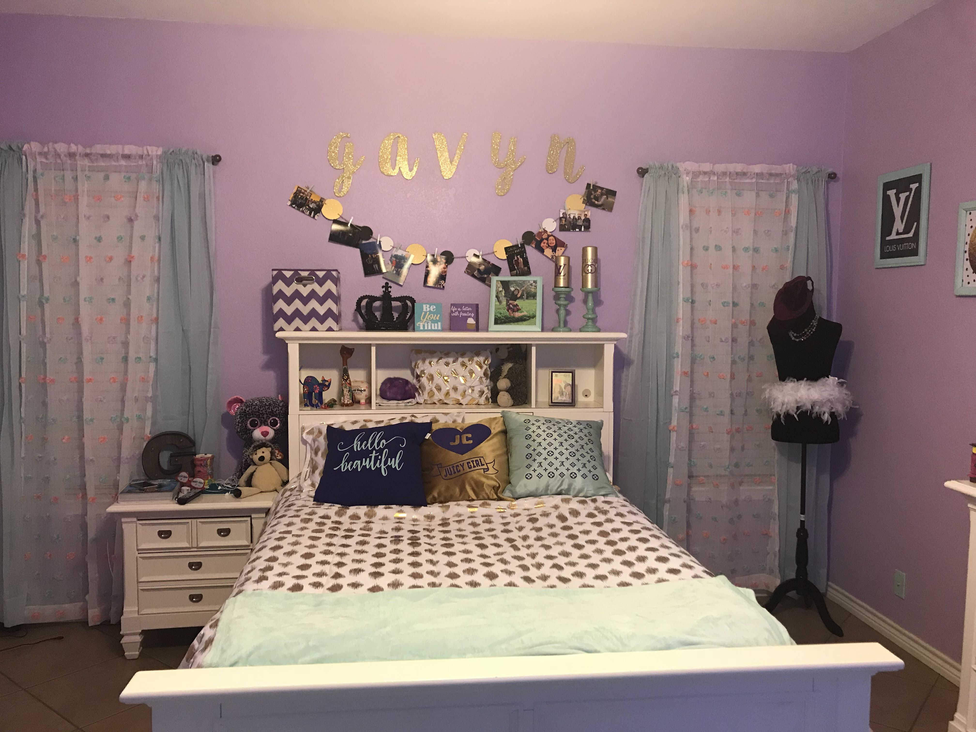 Teen girl bedroom colors lavender, purple, gold and mint
