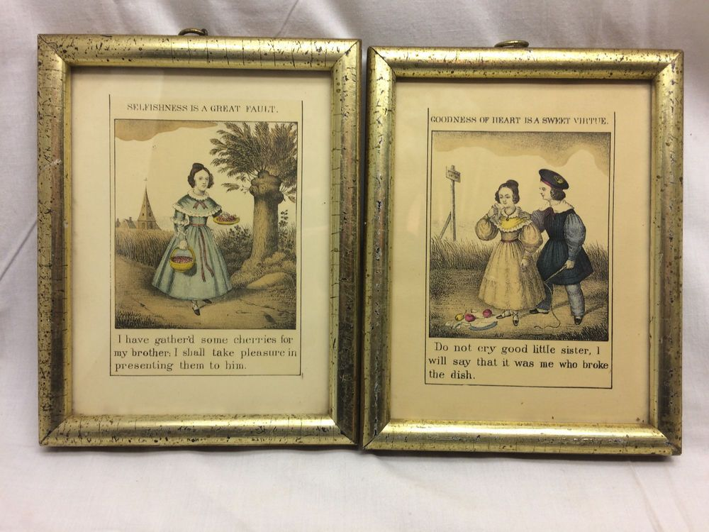 Vintage Framed Book Plates Brother Sister Poetry 6 38 X 8