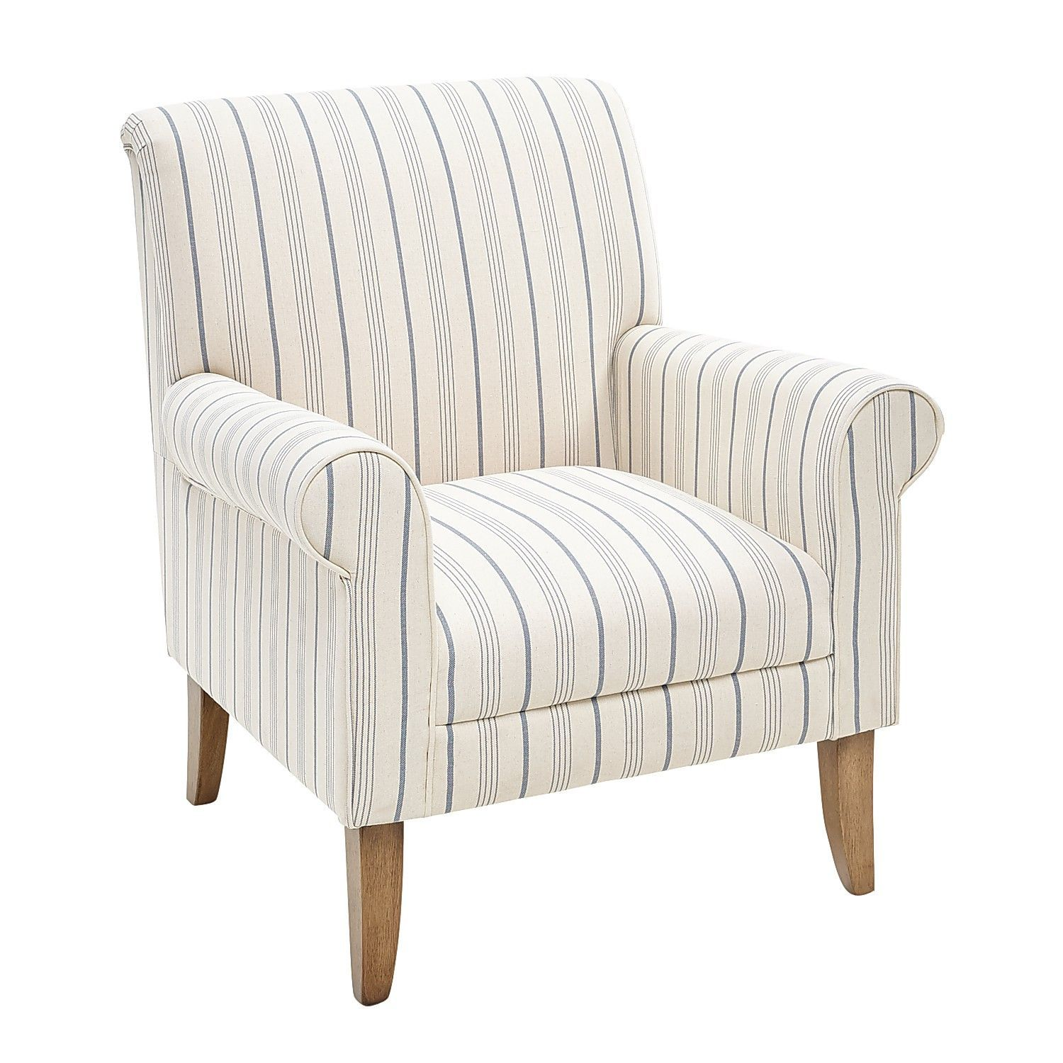 Best Laila Blue Paisley Chair White Armchair Blue Striped 400 x 300