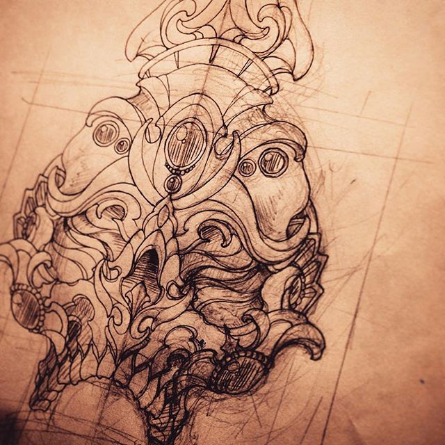 Tibetan skull. #tattoo #art #tattooart #tattooartist #tattooworkers #tattooartistmag #newschooltattoo #japanesetattoo #tibetanskull #tibetanskulltattoo #sketch