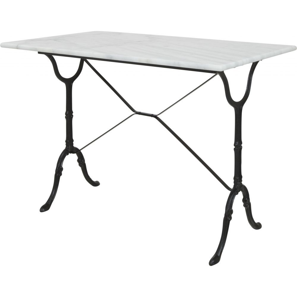 The Bologna Marble Table Is Cafe Style Dining Table With A Black Footed  Cast Iron Pedestal Base And White Carrera Marble Top. This Table May Be Used  Indoors ...