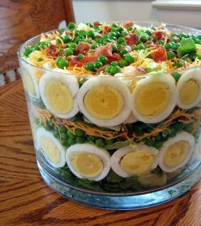 had this for lunch. yum. yum. (7 layer salad)