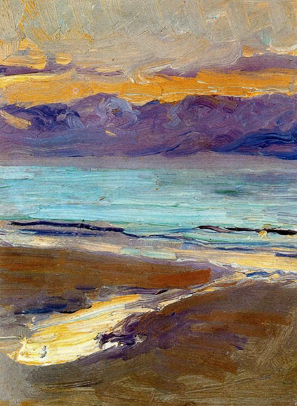 Landscape, color, brushstrokes (or palette knife strokes...I don't paint). Strong image with detail left up to the viewer. Love it.  Joaquín Sorolla