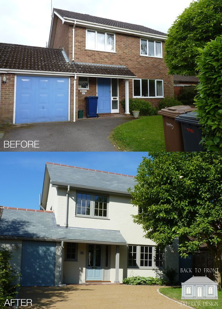 1960 S Before And After Remodelling Project In Guildford Surrey By Back To Front Exterior: Exterior Makeover Of This 1980's House In Farnham, Surrey. The Brickwork Has Been Painted Along