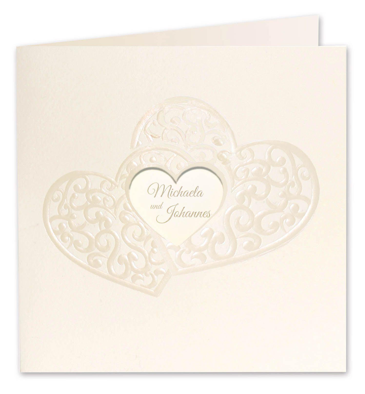 Romantische Quadratische Hochzeitskarte Creme Mit Zwei