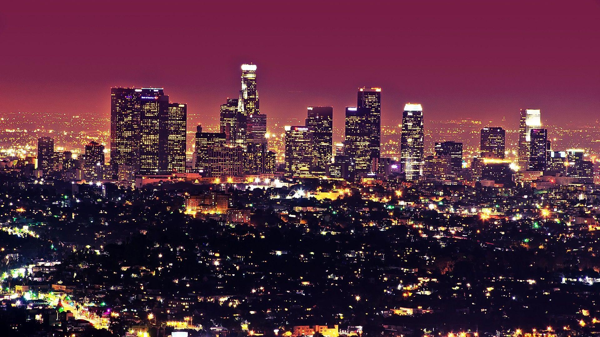 beautiful los angeles city at night lights landscape