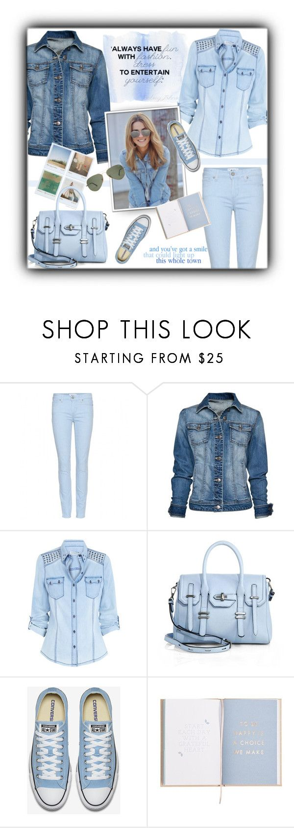 """""""Blue"""" by daiscat ❤ liked on Polyvore featuring Paige Denim, MANGO, Polaroid and Rebecca Minkoff"""