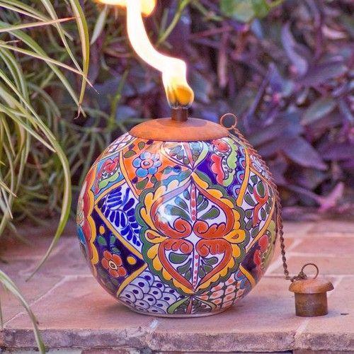 Veracruz Mexican Pottery Tabletop Tiki Torch