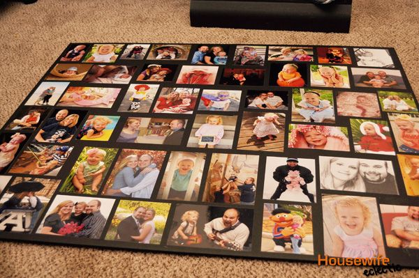How To Make A Large Photo Collage Housewife Eclectic Framed Photo Collage Family Photo Collages Photo Collage Diy