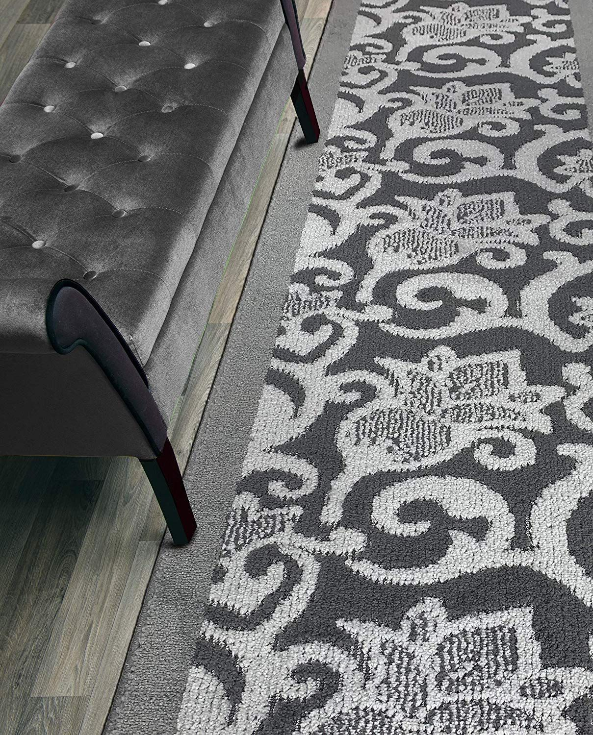 Custom Size Lily Hallway Runner Rug Slip Resistant 26 Inch Wide X Your Choice Of Length Size Anthracite 26 I In 2020 Rug Runner Hallway Rugs Slipping Hallway Runner