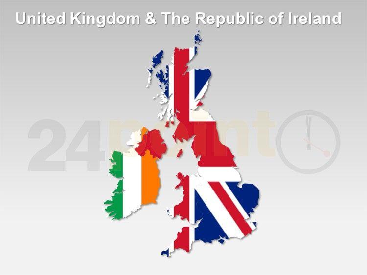 United Kingdom UK and The Republic of Ireland Editable PPT Map