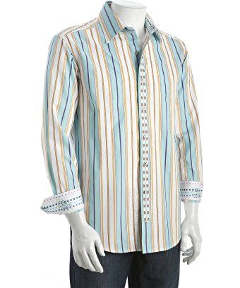 Robert Graham teal striped cotton 'Cruz' embroidered button front shirt. 18 neck 34/35 length