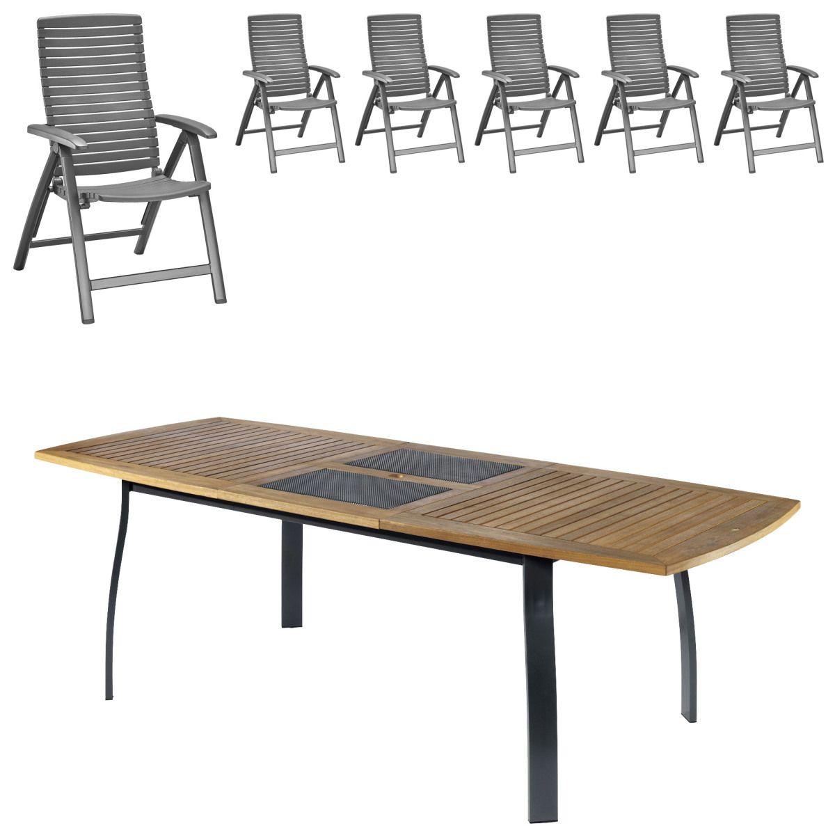Gartenmöbel-Set Kingston/California (102,9x180, ausziehbar, 6 Stühle ...