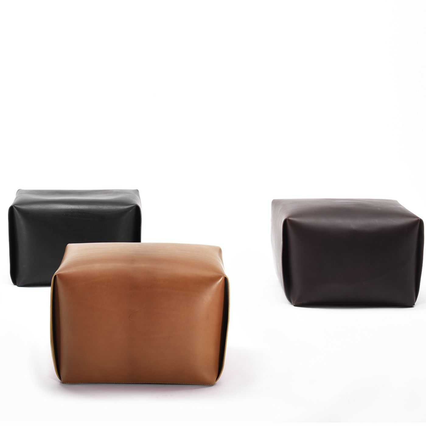 Bao Natural Leather Ottoman Timeless furniture handmade in Italy