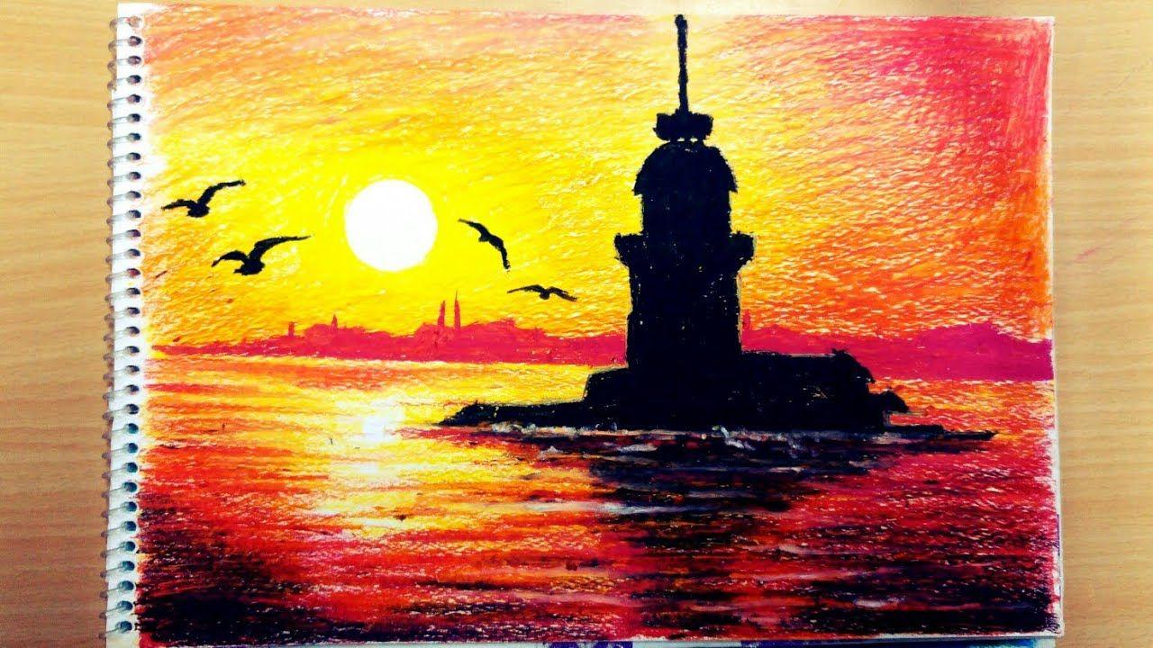Pastel Boya Kiz Kulesi Gun Batimi Pastel Boyalar Soyut Akrilik Tablolar Soyut Resim Tuval