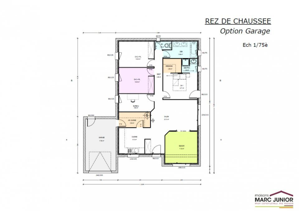 Plan maison neuve construire marc junior mod le de for Exemple plan de maison plain pied