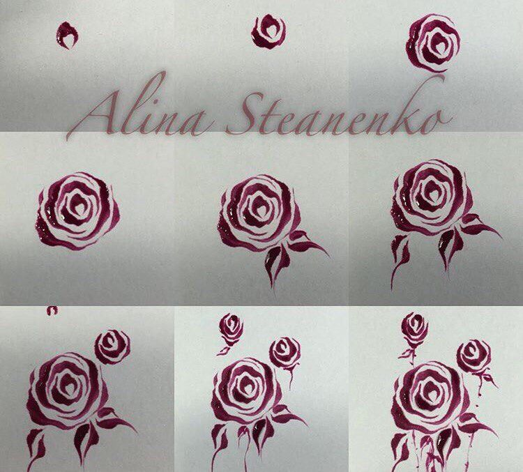 How To Draw Roses On Nails