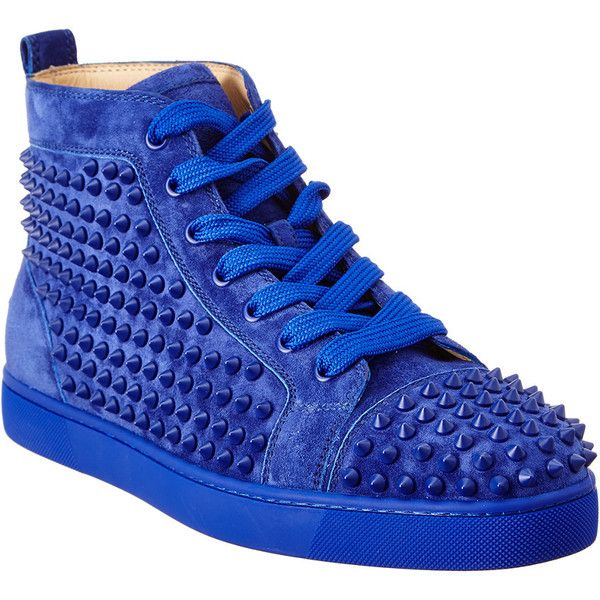 d066541eea53 Christian Louboutin Louis Spike Suede High Top Sneaker ( 850) ❤ liked on  Polyvore featuring men s fashion