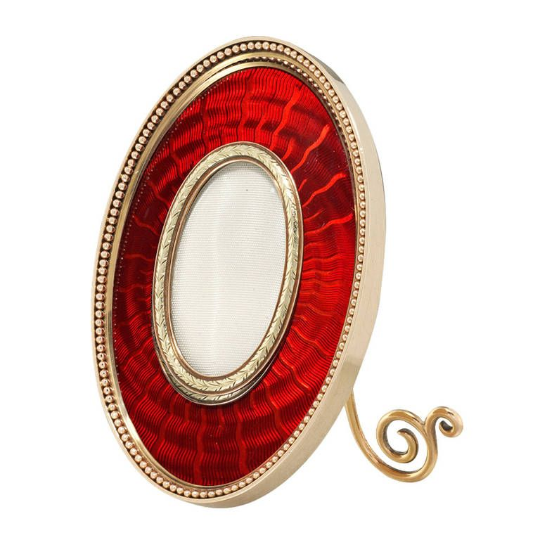 important faberge red enamel gold picture frame - Enamel Picture Frames