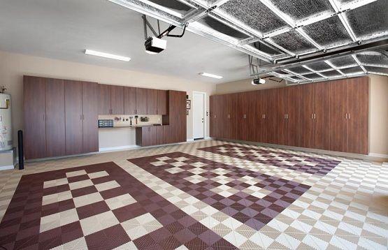 Brown Interlocking Garage Floor Tiles In 3 Car Garage Flooring