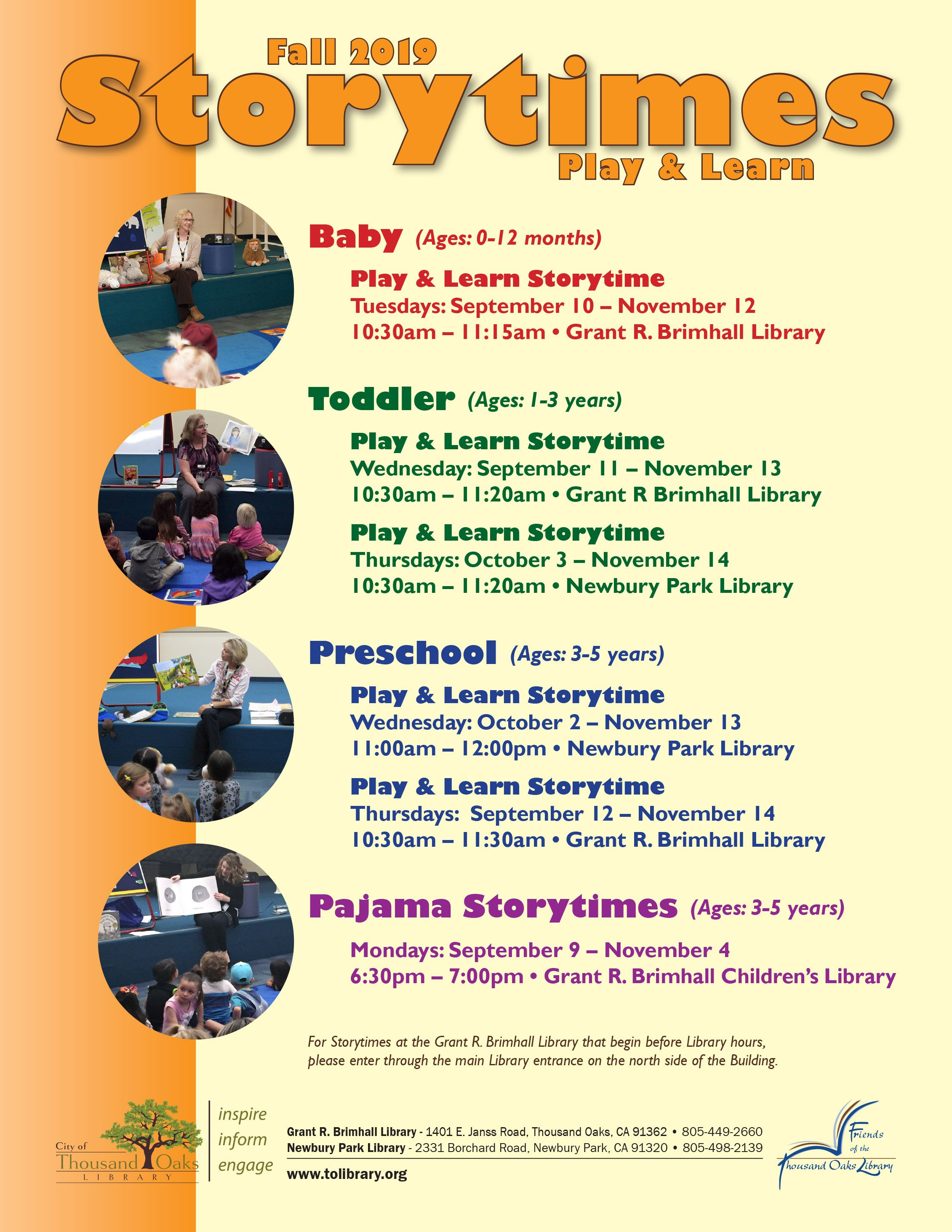 Fall 2019 Storytimes At The Grant R Brimhall Library And The