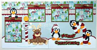 Christmas at the North Pole with Penguins and Reindeer (Scrapbook Paper Piecings)