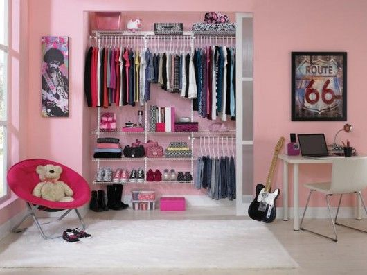 Cute Closet For A Girls Bedroom Tween Pink Clean Organize