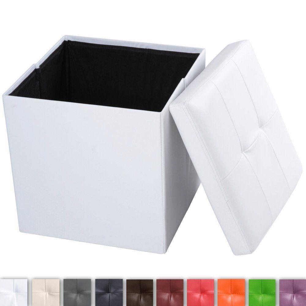 Tabouret cube avec siège rembourré - Blanc - Coffre de rangement pouf  pliable - 42 x 42 x 42 cm (l x P x H) - en cuir synthétique - DIVERSES  COULEURS AU ... 3c1d2e36bfa4