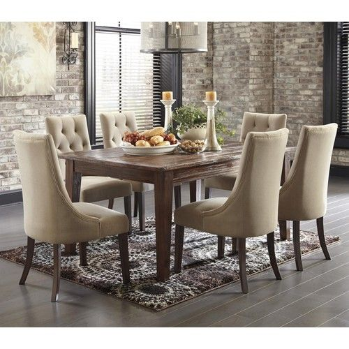 Signature Design By Ashley Furniture Mestler 7 Piece Dining Set With  Upholstered Side Chairs | Dining Room Ideas | Pinterest | Side Chair, ...