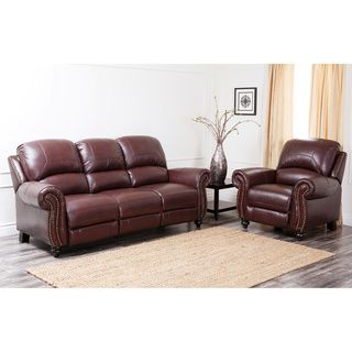 Abbyson Living Madison Premium Top Grain Leather Pushback Reclining Sofa  And Armchair Overstock