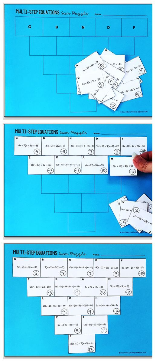 Multi-Step Equations Pyramid Sum Puzzle | Equation, Triangles and ...