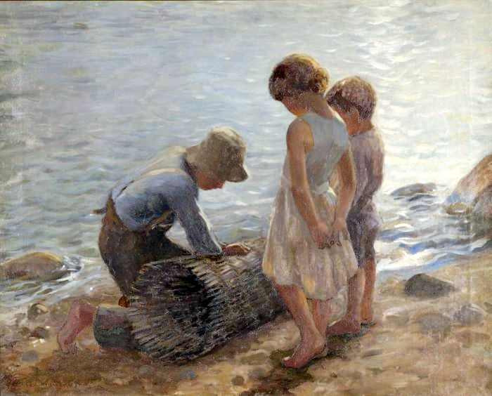 | Adam Emory Albright - Children On Seashore With Lobsterman