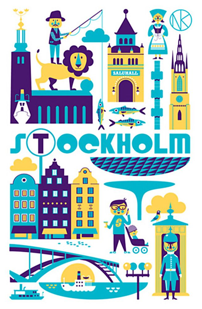 Tea Towel- Stockholm by Ingela P. Arrhenius