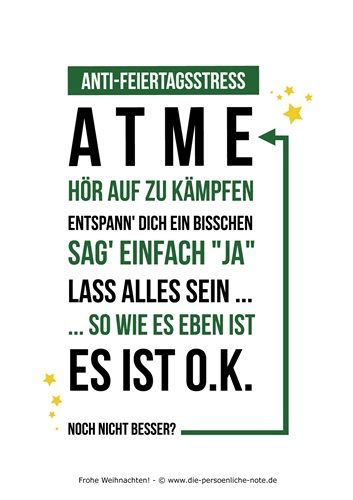 Im Adventskalender Der 24 Kleinen Wortgeschenke Humorvolle Anti Feiertagsstress Karte Kostenloser Pdf Download Tolle Worte Poster Zitate Einfache Worte