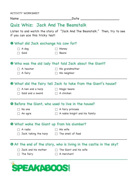 Quiz Whiz Jack And The Beanstalk Speakaboos Worksheets